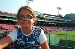 My daughter in Fenway Park